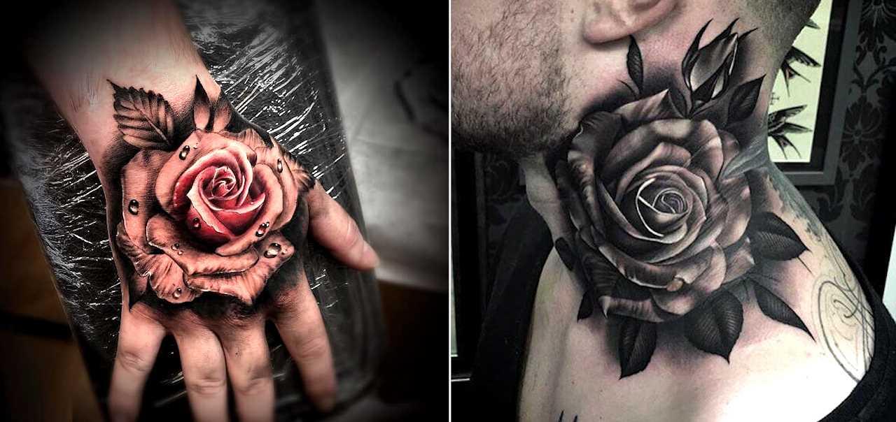 Rose Tattoo Designs For Men On Hand - Tattoo Ideas