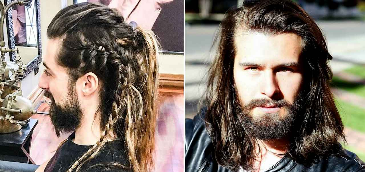 Fine Top 25 Cool Long Hairstyles With Beard Best Long Hair And Beard Natural Hairstyles Runnerswayorg