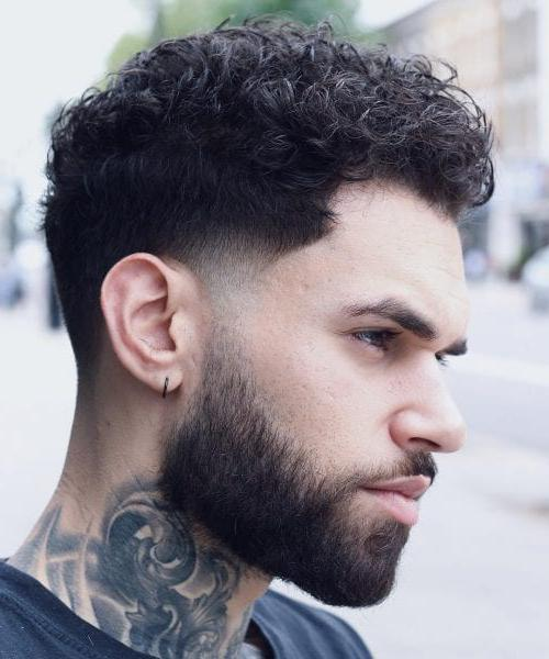 Summer Hairstyles for Men- Temple Fade + Short Curly Haircut