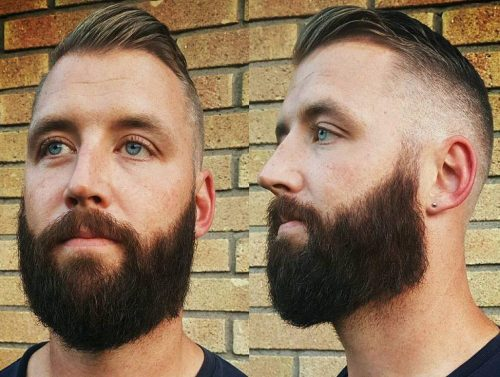 Short Slick Back + Drop Fade With Full Beard Mens Hair