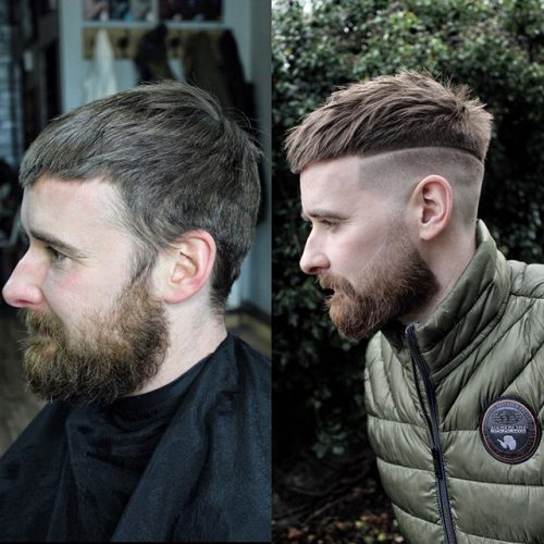 Men's Shaved Line Haircut And Textured Top With Beard